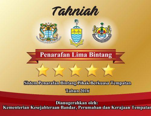 TAHNIAH Majlis Bandaraya Pulau Pinang (MBPP) dan Majlis Perbandaran Seberang Perai (MPSP) berjaya mendapat anugerah 5 BINTANG 2016 daripada Kementerian Kesejahteran Bandar, Perumahan dan Kerajaan Tempatan!